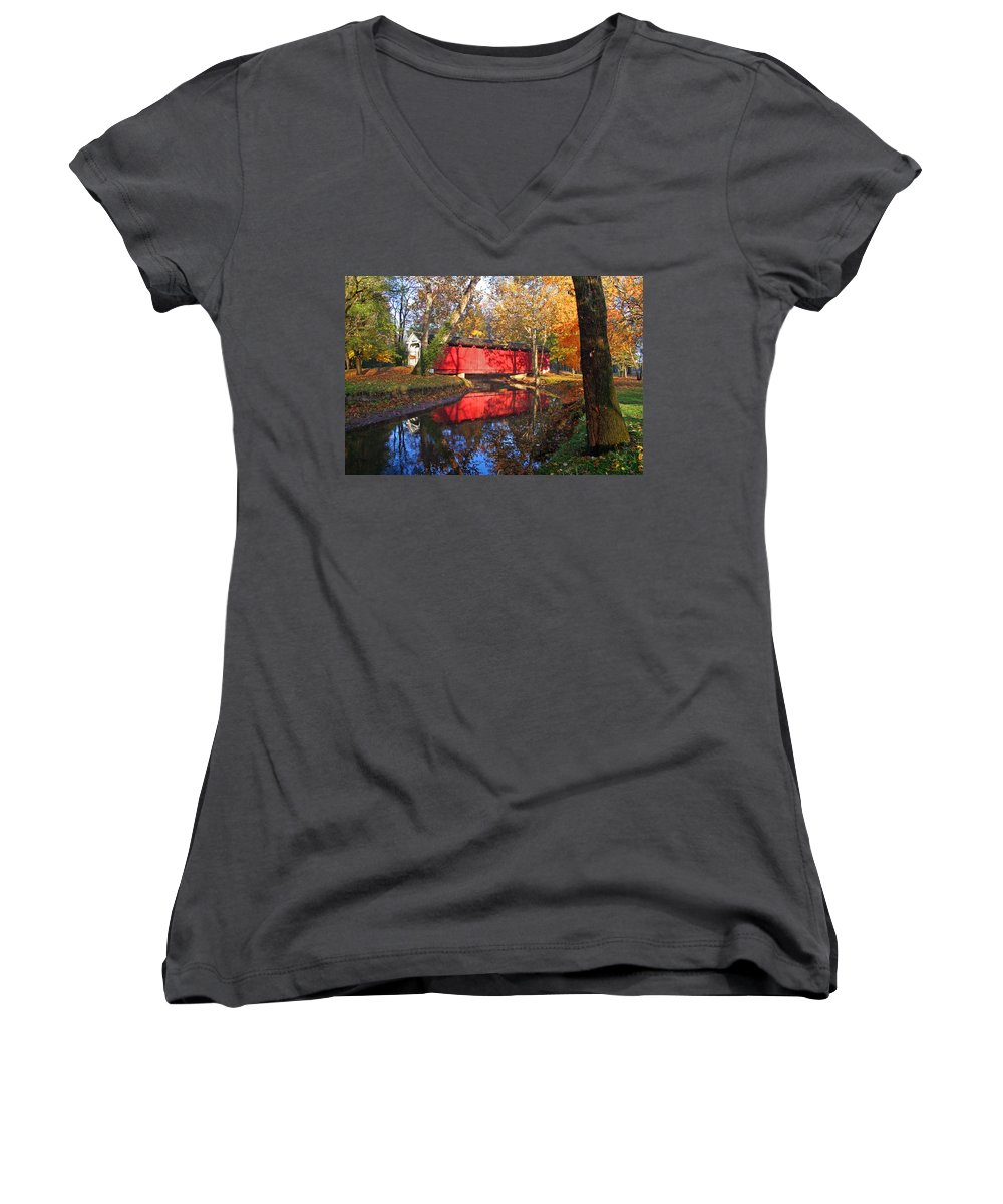 Covered Bridge Women's V-Neck T-Shirt featuring the photograph Autumn Sunrise Bridge II by Margie Wildblood
