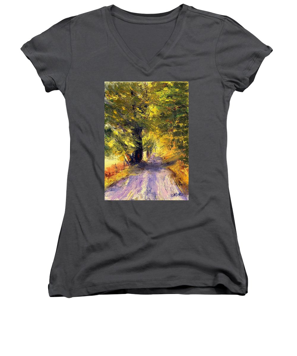 Autumn Women's V-Neck (Athletic Fit) featuring the painting Autumn Walk by Gail Kirtz