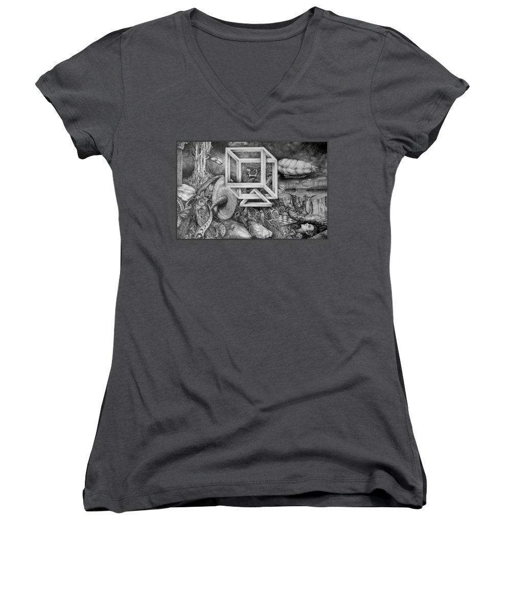 Drawing Women's V-Neck T-Shirt featuring the drawing Axis Mundi by Otto Rapp