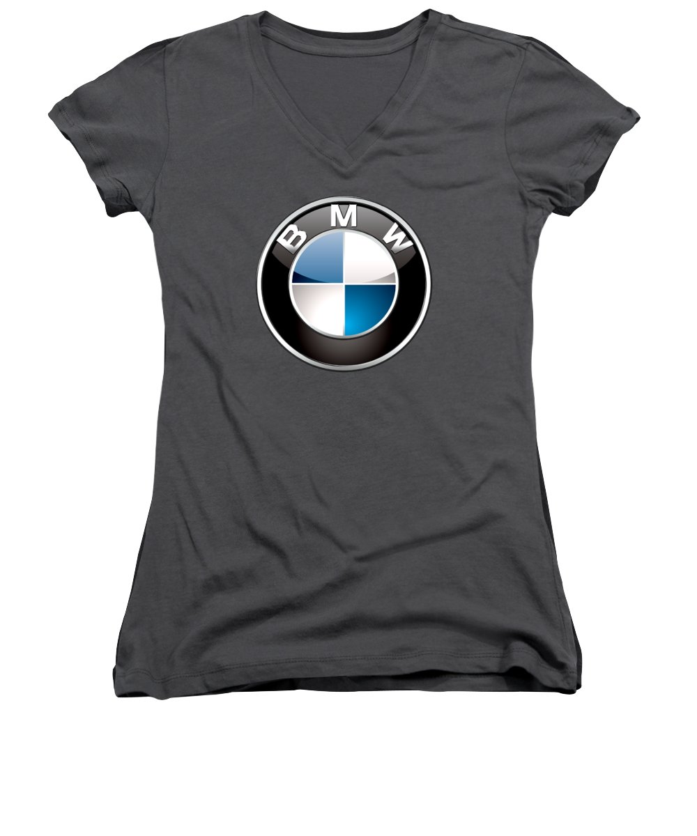 'auto Badges 3d' By Serge Averbukh Women's V-Neck featuring the photograph B M W Badge On Red by Serge Averbukh