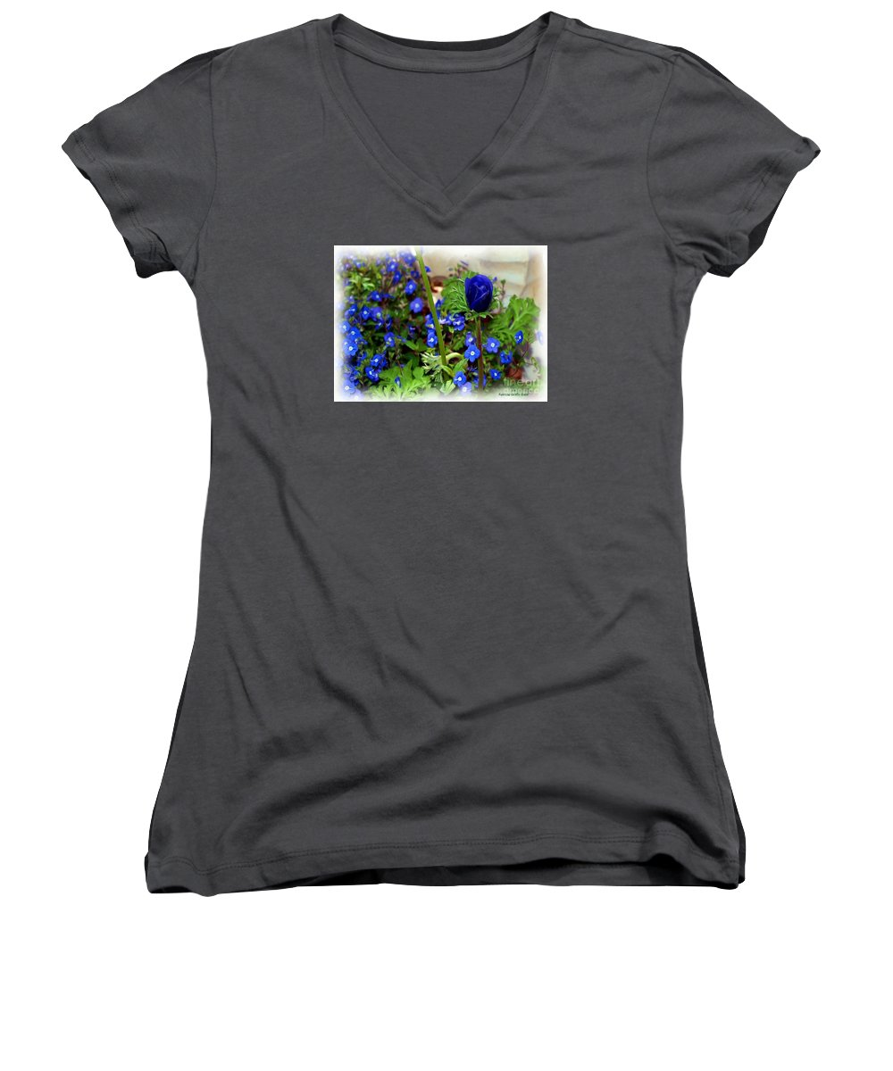 Fine Art Women's V-Neck T-Shirt featuring the painting Babys Got The Blues by Patricia Griffin Brett
