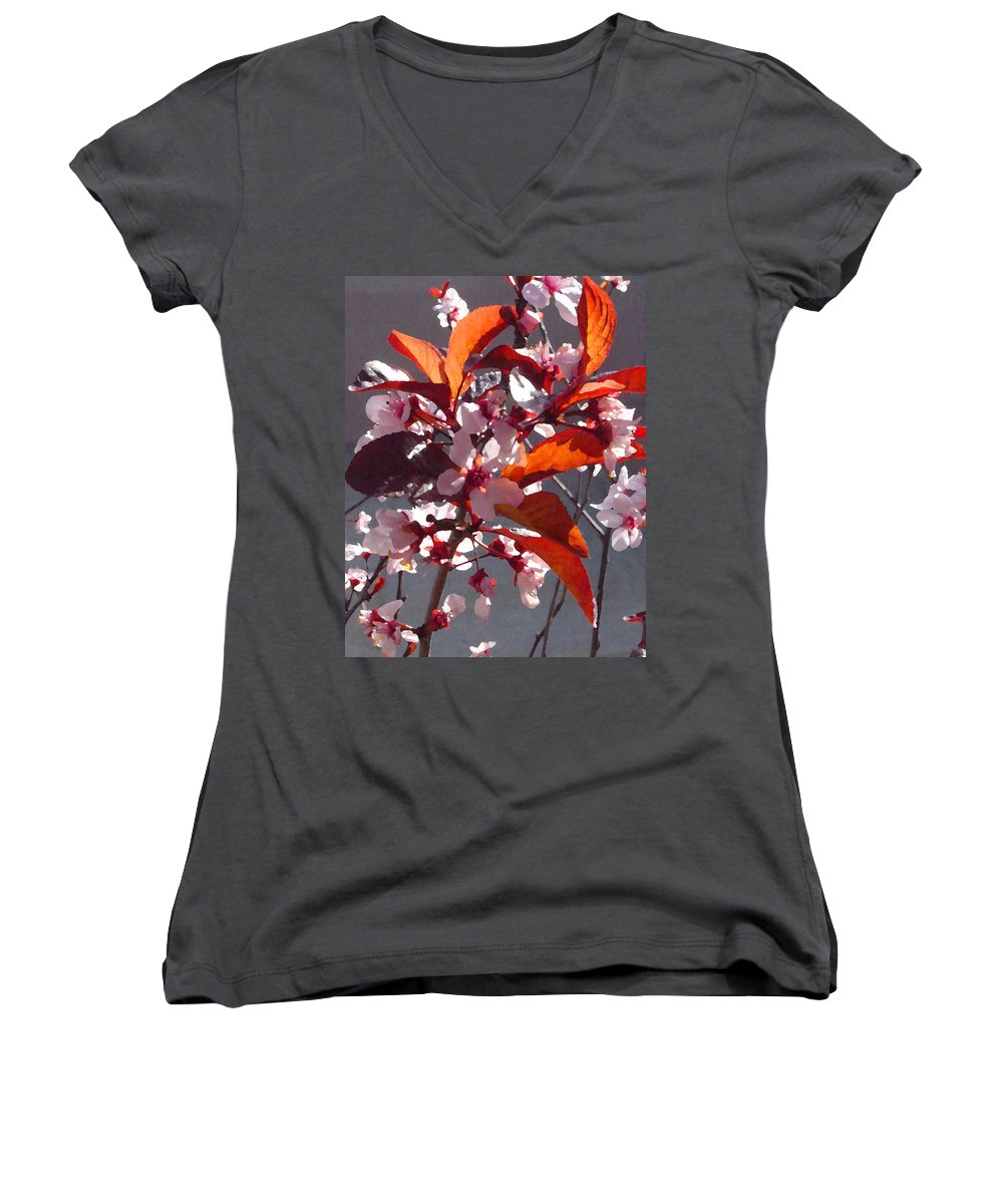 Floral Women's V-Neck (Athletic Fit) featuring the painting Backlit Pink Tree Blossoms by Amy Vangsgard