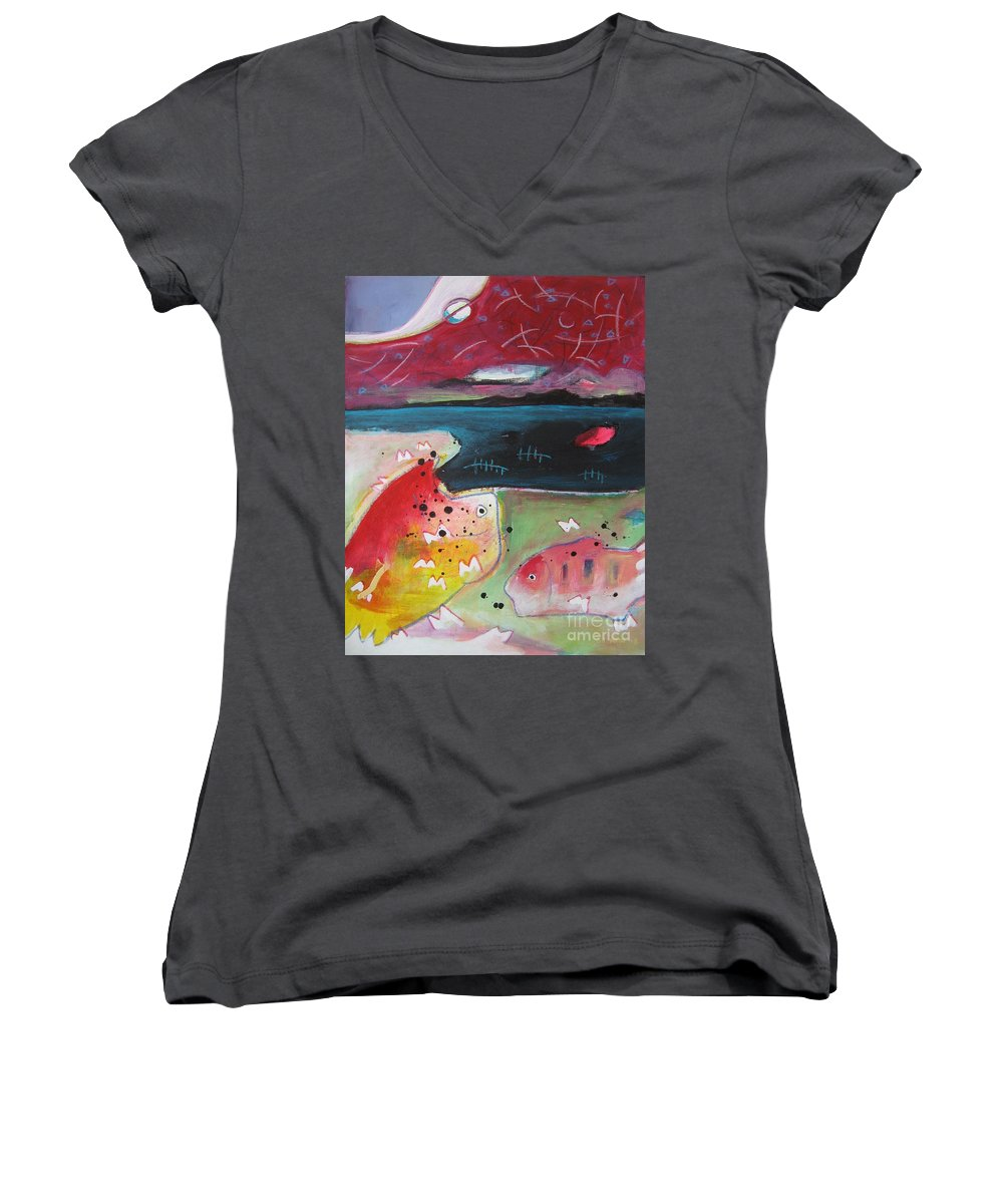 Acrylic Paintings Women's V-Neck (Athletic Fit) featuring the painting Baieverte by Seon-Jeong Kim