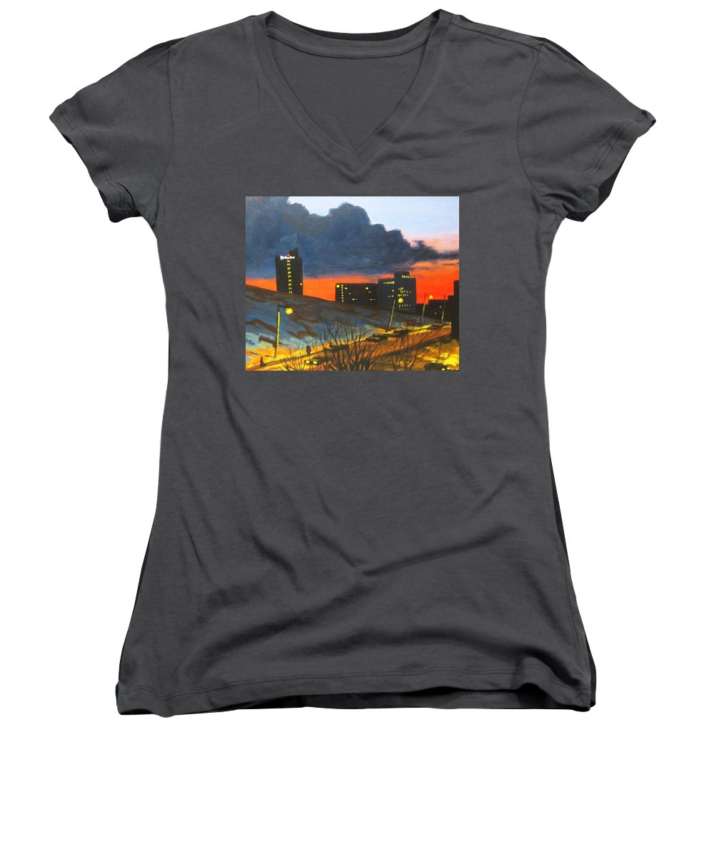 Sunset Women's V-Neck (Athletic Fit) featuring the painting Balcony View 2 by John Malone