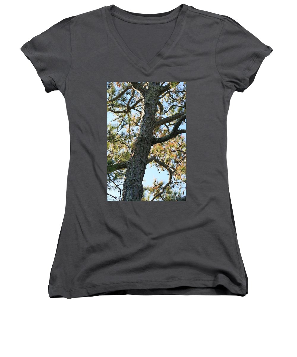 Tree Women's V-Neck (Athletic Fit) featuring the photograph Bald Head Tree by Nadine Rippelmeyer