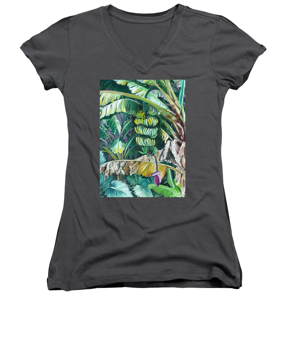 Caribbean Painting Bananas Trees P Painting Fruit Painting Tropical Painting Women's V-Neck T-Shirt featuring the painting Bananas by Karin Dawn Kelshall- Best