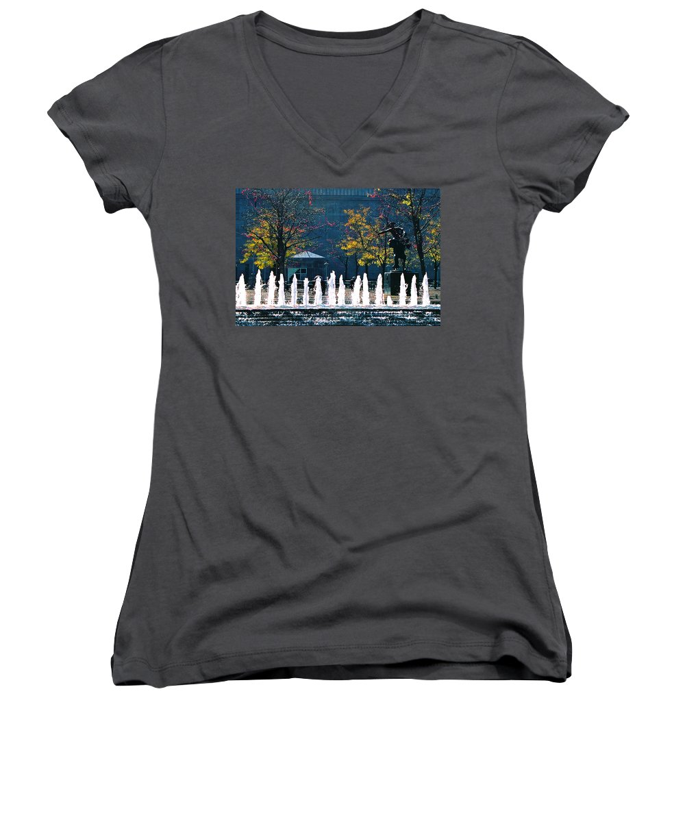 Landscape Women's V-Neck (Athletic Fit) featuring the photograph Barney Allis Plaza-kansas City by Steve Karol