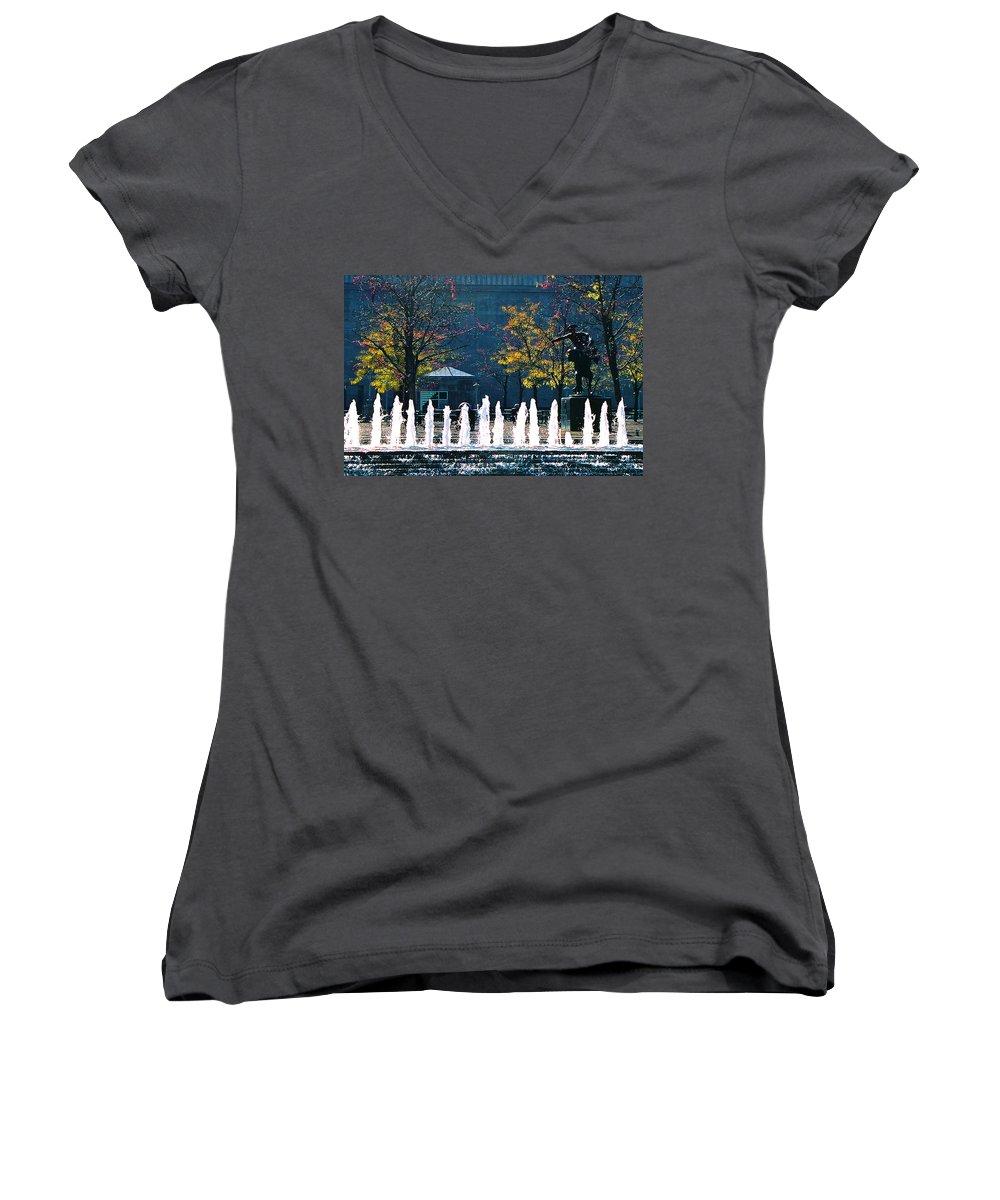 Landscape Women's V-Neck T-Shirt featuring the photograph Barney Allis Plaza-kansas City by Steve Karol