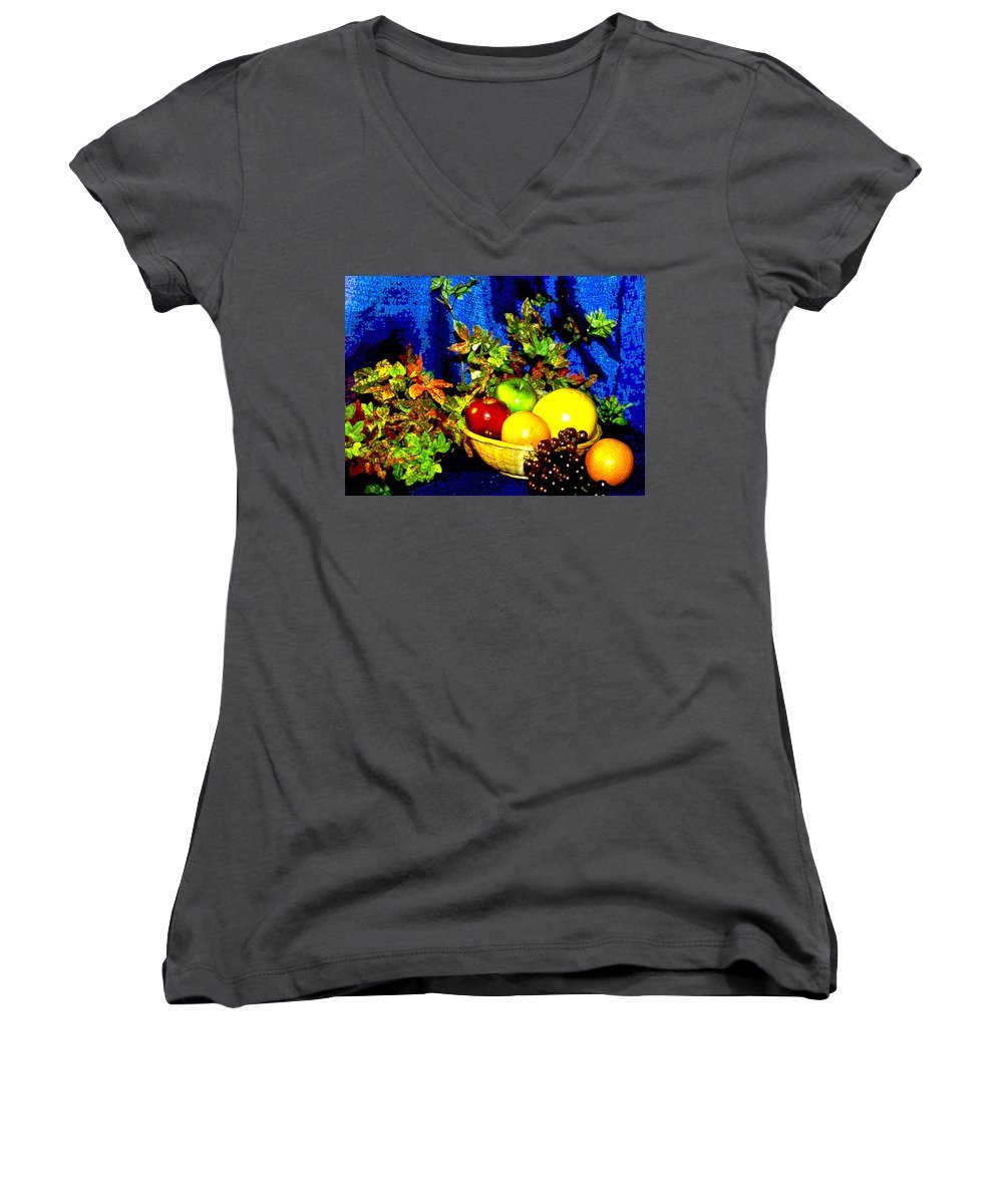 Fruit Women's V-Neck (Athletic Fit) featuring the photograph Basket With Fruit by Nancy Mueller