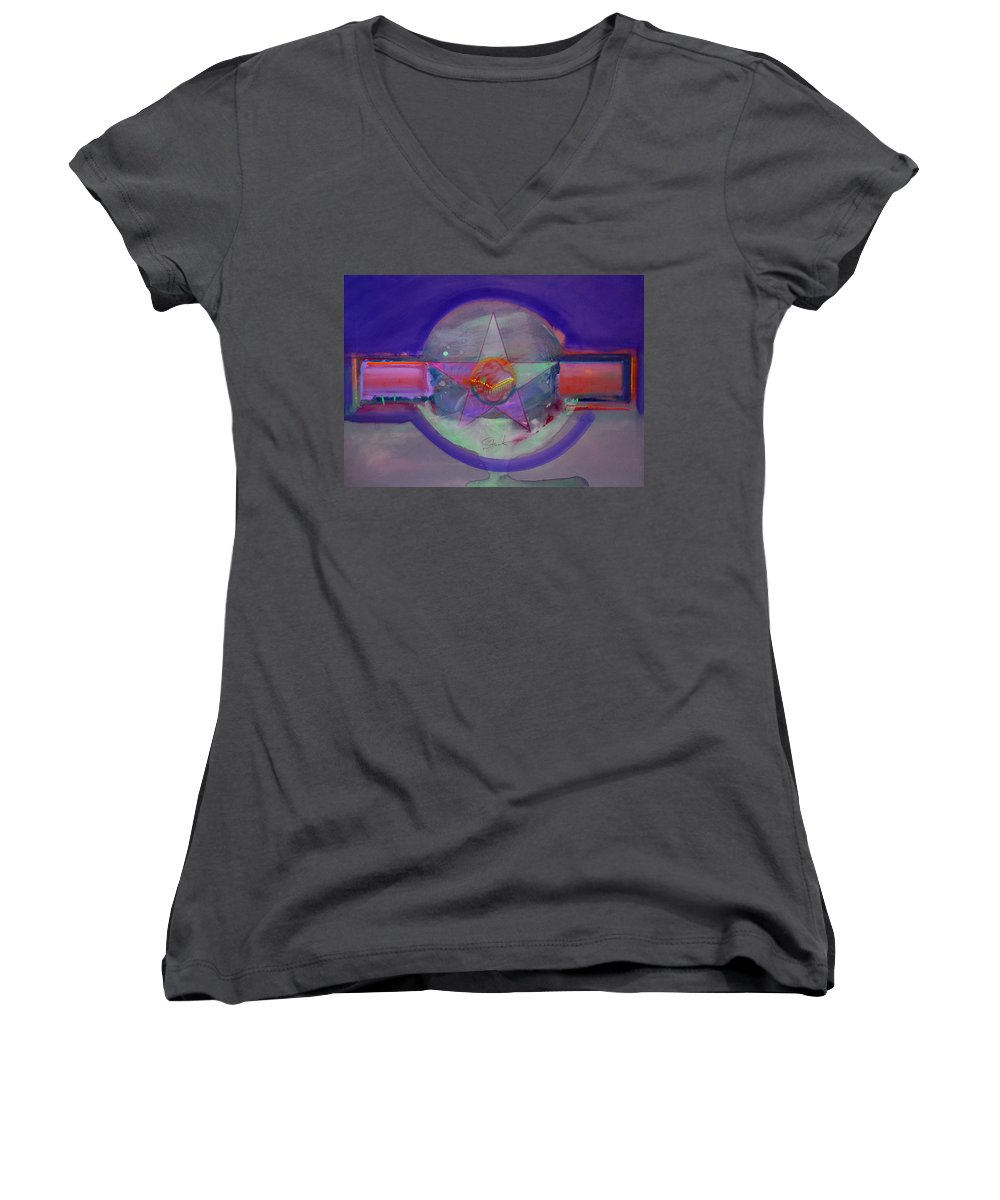 Usaaf Insignia Women's V-Neck (Athletic Fit) featuring the painting Battlefield by Charles Stuart