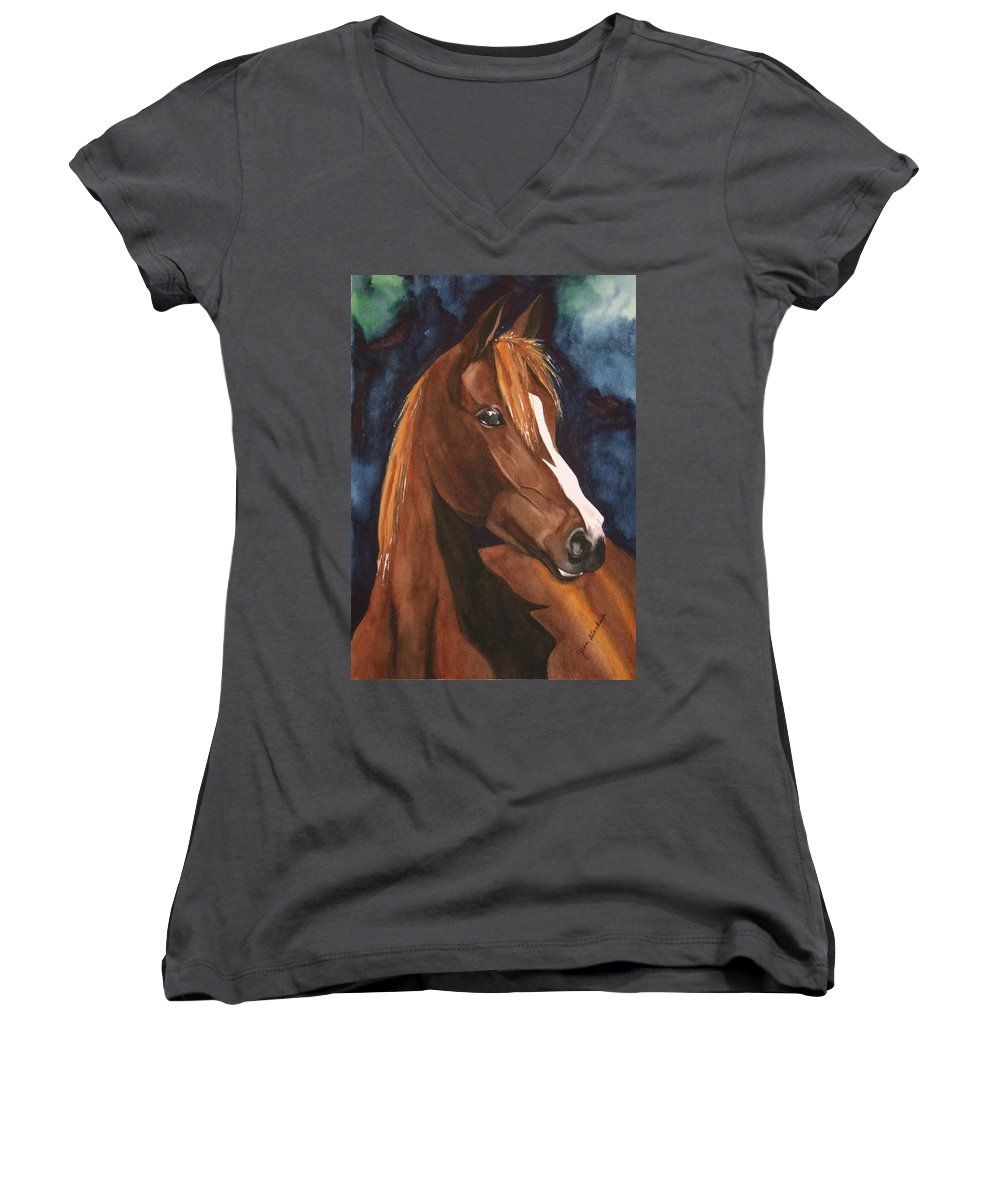 Horse Women's V-Neck (Athletic Fit) featuring the painting Bay On Blue 2 by Jean Blackmer