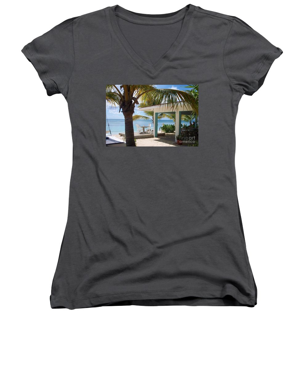 Beach Women's V-Neck T-Shirt featuring the photograph Beach In Grand Turk by Debbi Granruth