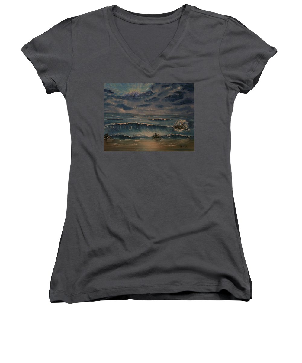 Water Women's V-Neck T-Shirt featuring the painting Beach Scene by Stephen King