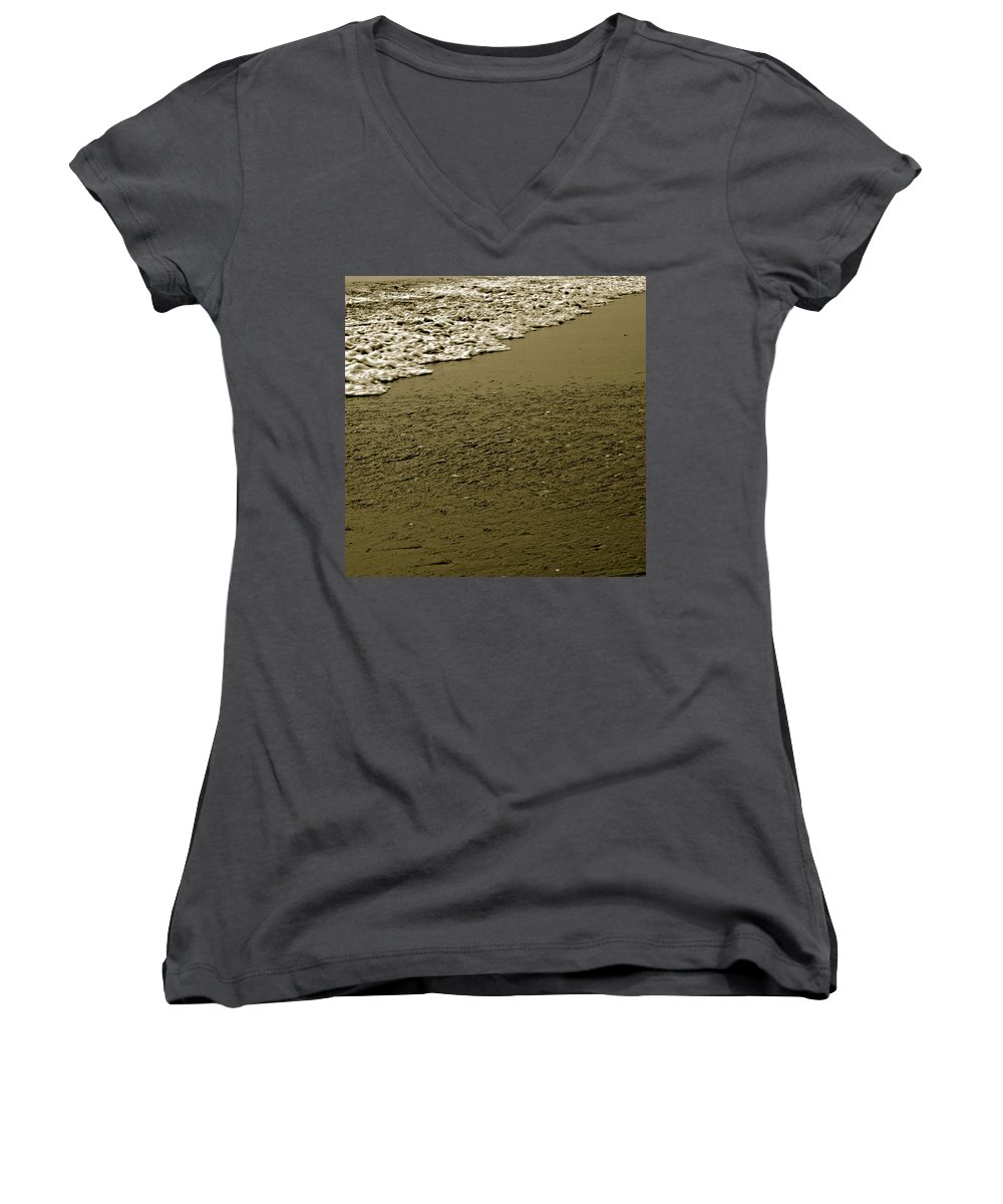 Water Women's V-Neck (Athletic Fit) featuring the photograph Beach Texture by Jean Macaluso