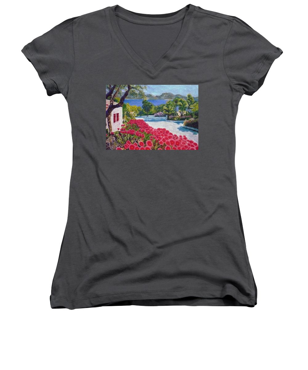 Landscape Women's V-Neck (Athletic Fit) featuring the painting Beach With Flowers by Ericka Herazo