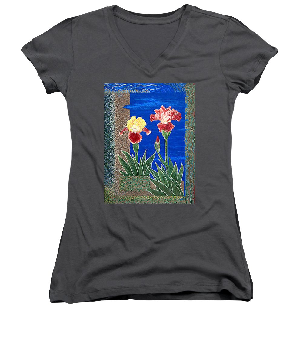 Irises Women's V-Neck T-Shirt featuring the painting Bearded Irises Cheerful Fine Art Print Giclee High Quality Exceptional Color by Baslee Troutman