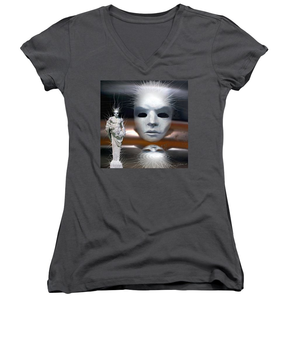 Digital Beauty Eyes Water Women's V-Neck (Athletic Fit) featuring the digital art Beauty Is Invisible To The Eye. by Veronica Jackson