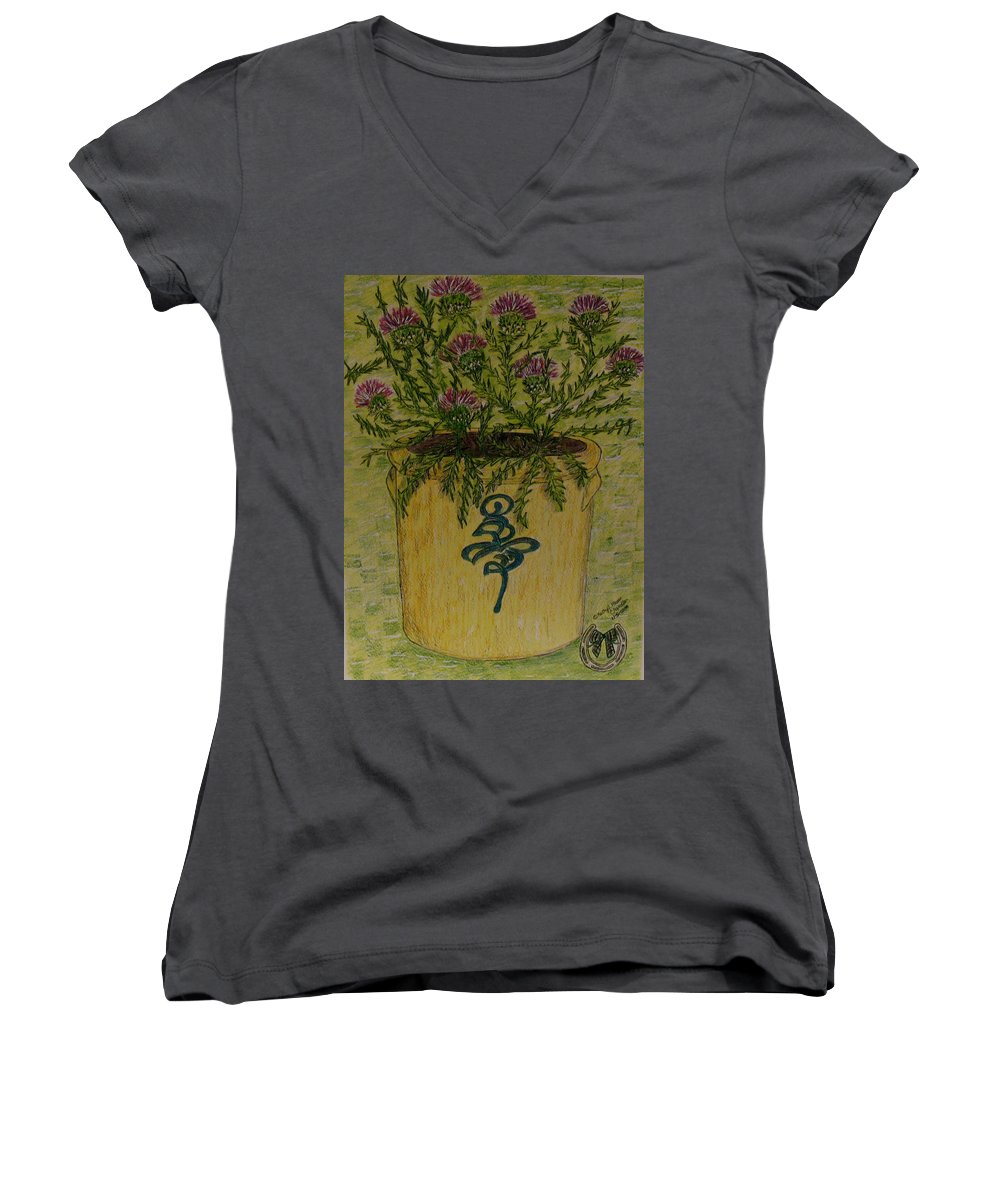Vintage Women's V-Neck T-Shirt featuring the painting Bee Sting Crock With Good Luck Horseshoe by Kathy Marrs Chandler