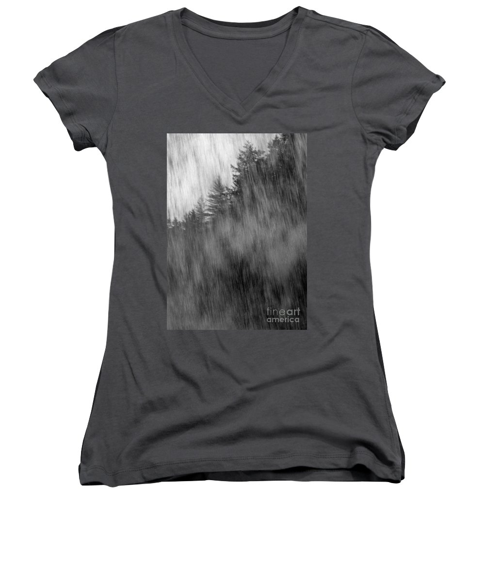 Waterfalls Women's V-Neck T-Shirt featuring the photograph Behind The Falls by Richard Rizzo