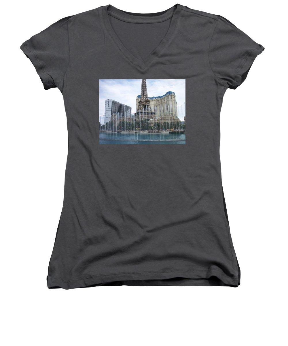 Bellagio Fountain Women's V-Neck T-Shirt featuring the photograph Bellagio Fountain 1 by Anita Burgermeister