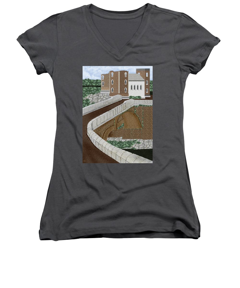 Castle Ruins Women's V-Neck T-Shirt featuring the painting Beloved Ruins by Anne Norskog
