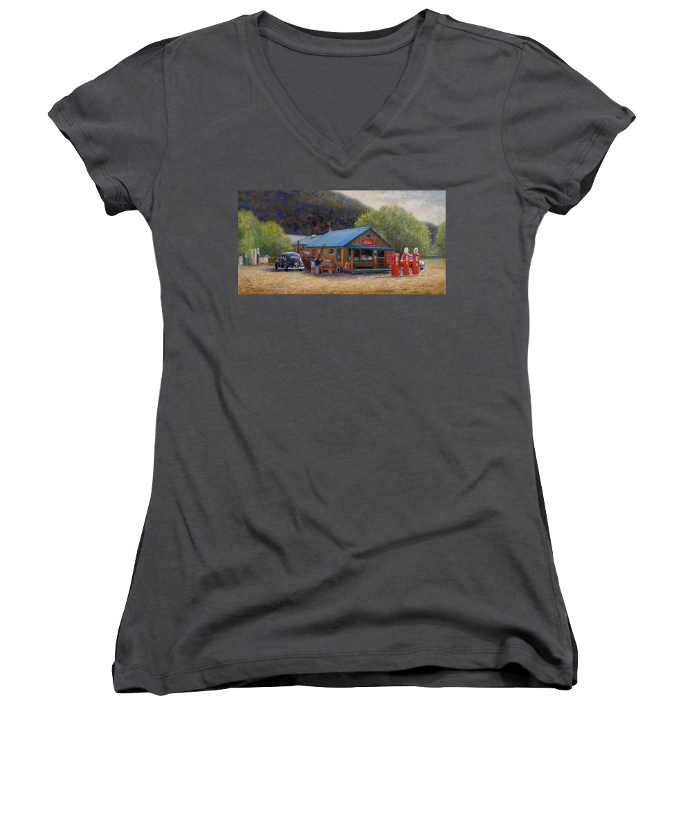 Realism Women's V-Neck (Athletic Fit) featuring the painting Below Taos 2 by Donelli DiMaria