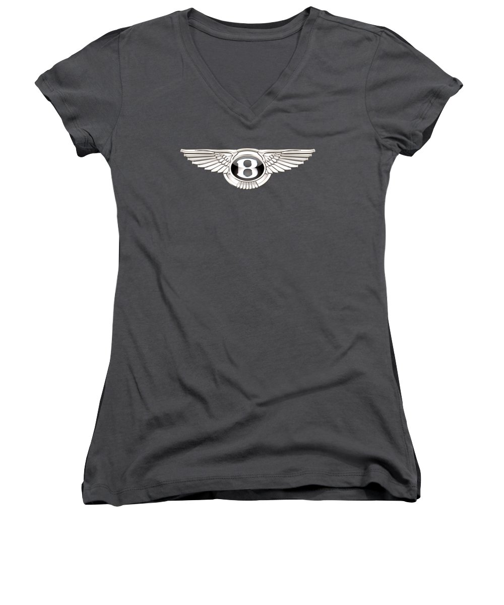 Wheels Of Fortune� Collection By Serge Averbukh Women's V-Neck featuring the photograph Bentley 3 D Badge On Red by Serge Averbukh