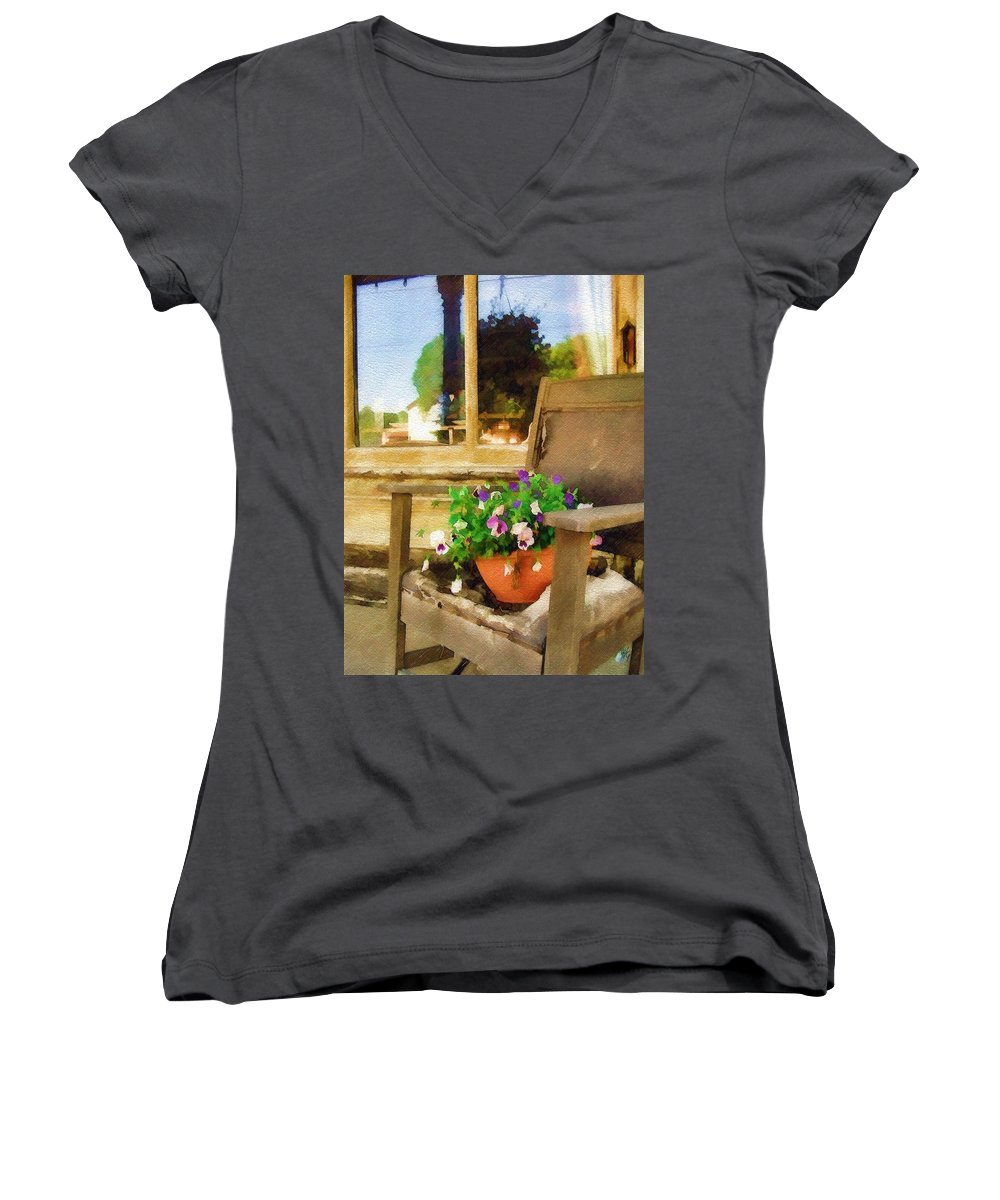 Pansies Women's V-Neck (Athletic Fit) featuring the photograph Best Seat In The House by Sandy MacGowan