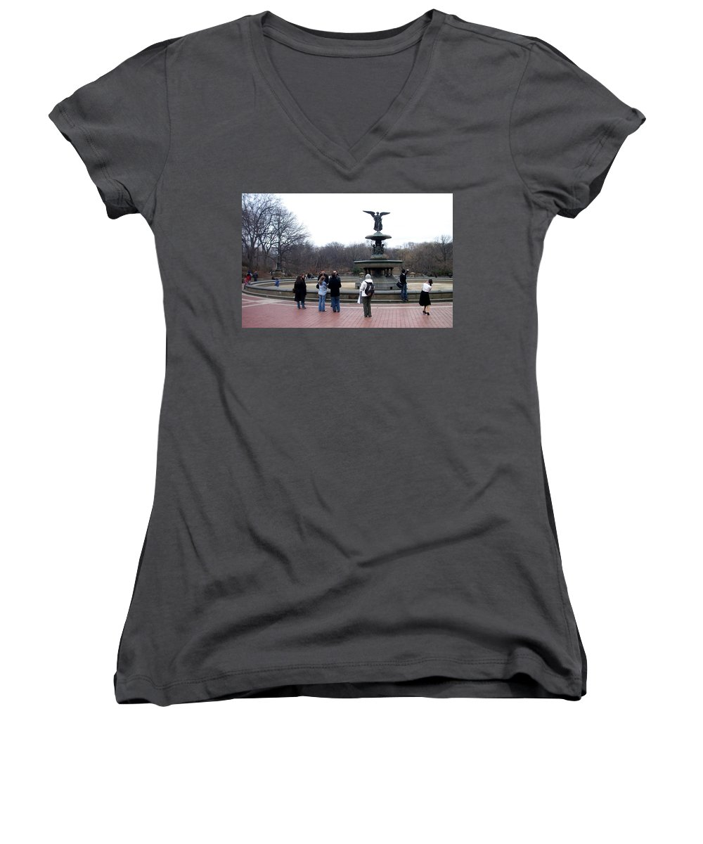 Bethesda Fountain Women's V-Neck (Athletic Fit) featuring the photograph Bethesda Fountain by Anita Burgermeister