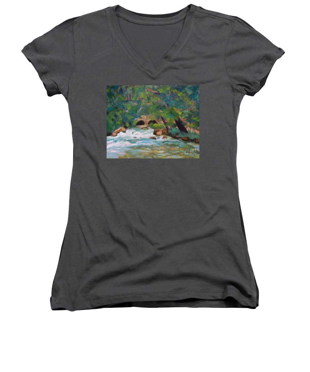 Impressionistic Women's V-Neck (Athletic Fit) featuring the painting Big Spring On The Current River by Jan Bennicoff