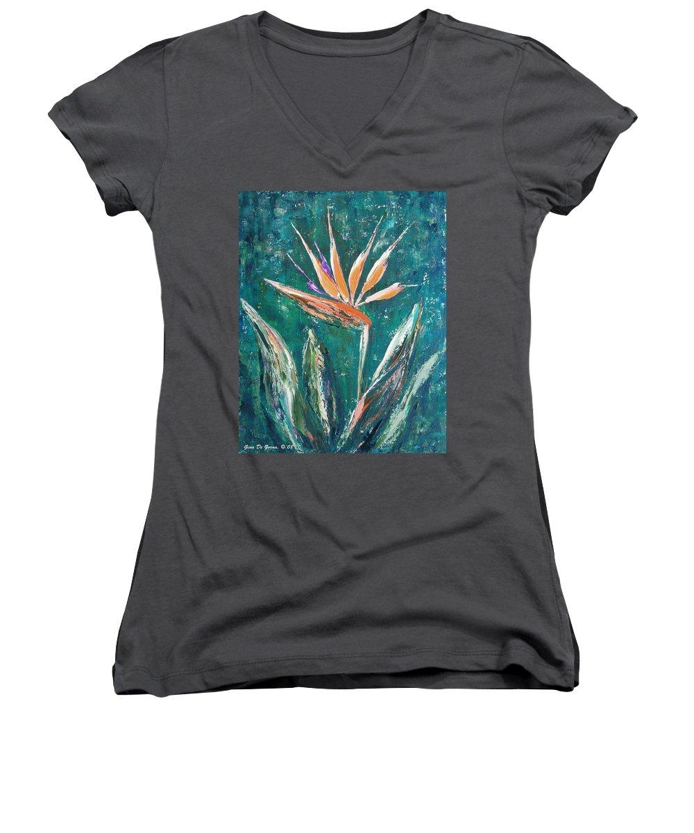 Bird Of Paradise Women's V-Neck T-Shirt featuring the painting Bird Of Paradise by Gina De Gorna