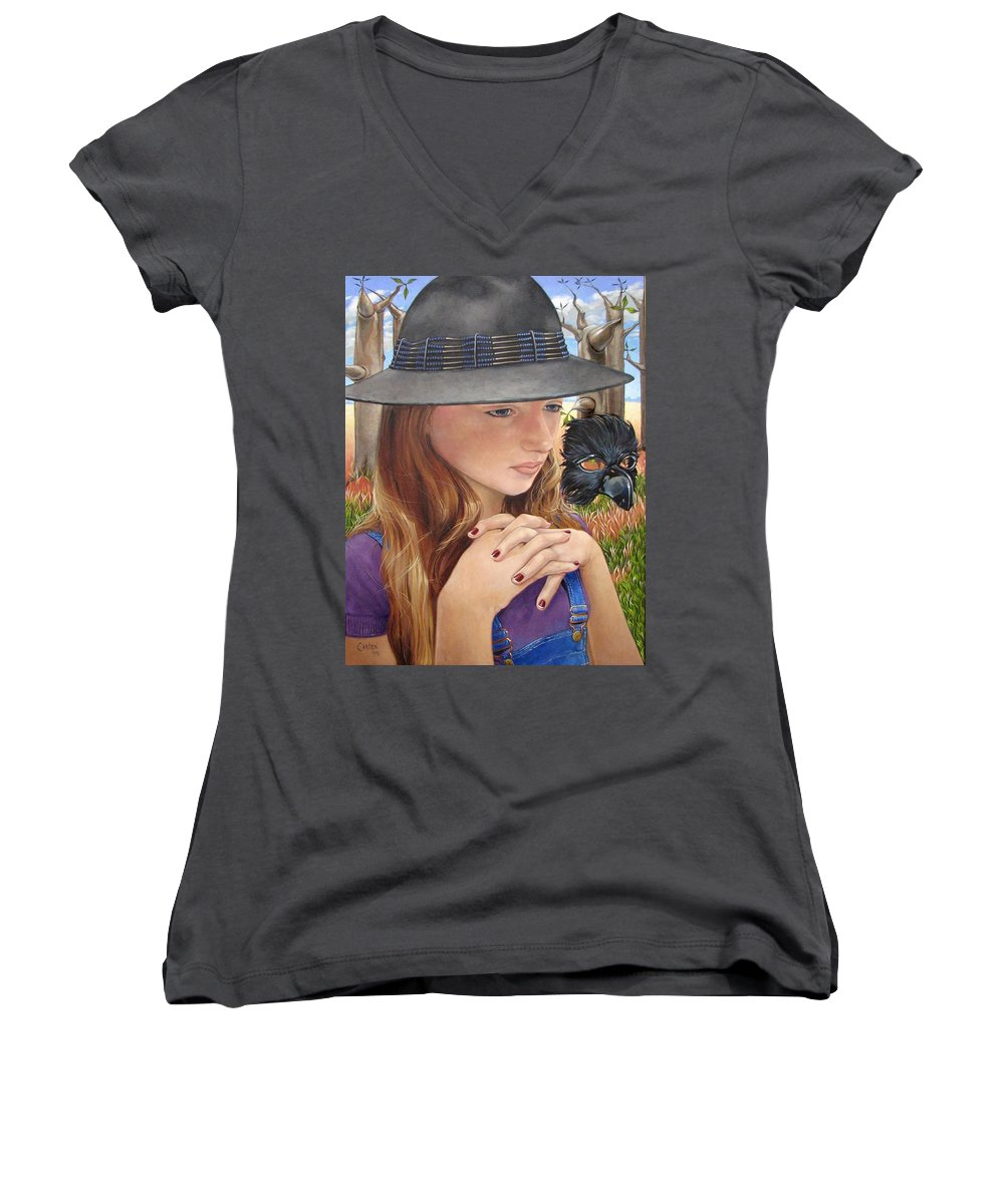 Girl Women's V-Neck T-Shirt featuring the painting Birth Of The Scheme by Jerrold Carton