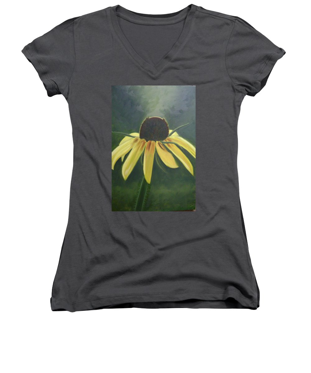 Flower Women's V-Neck T-Shirt featuring the painting Black Eyed Susan by Toni Berry