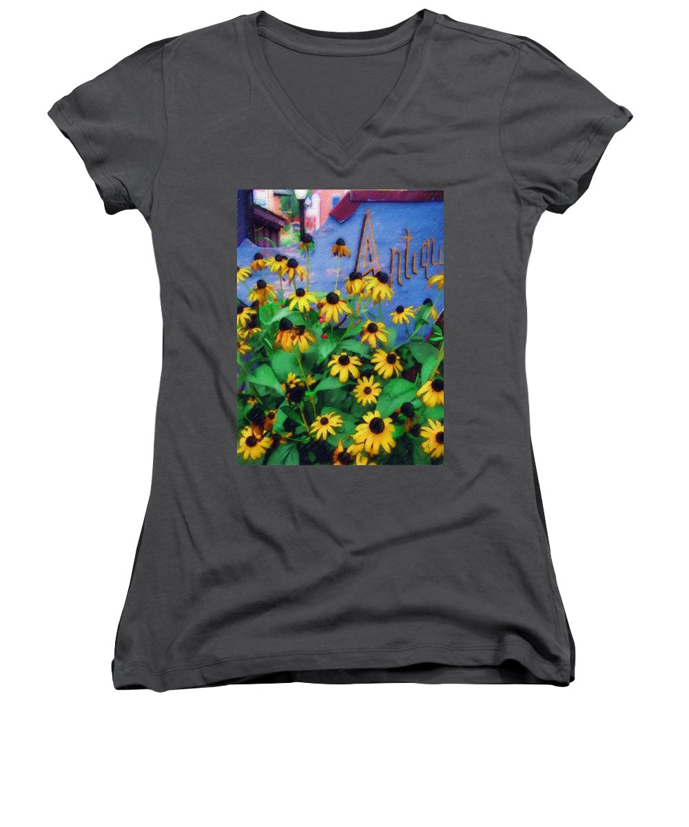Flowers Women's V-Neck T-Shirt featuring the photograph Black-eyed Susans At The Bag Factory by Sandy MacGowan