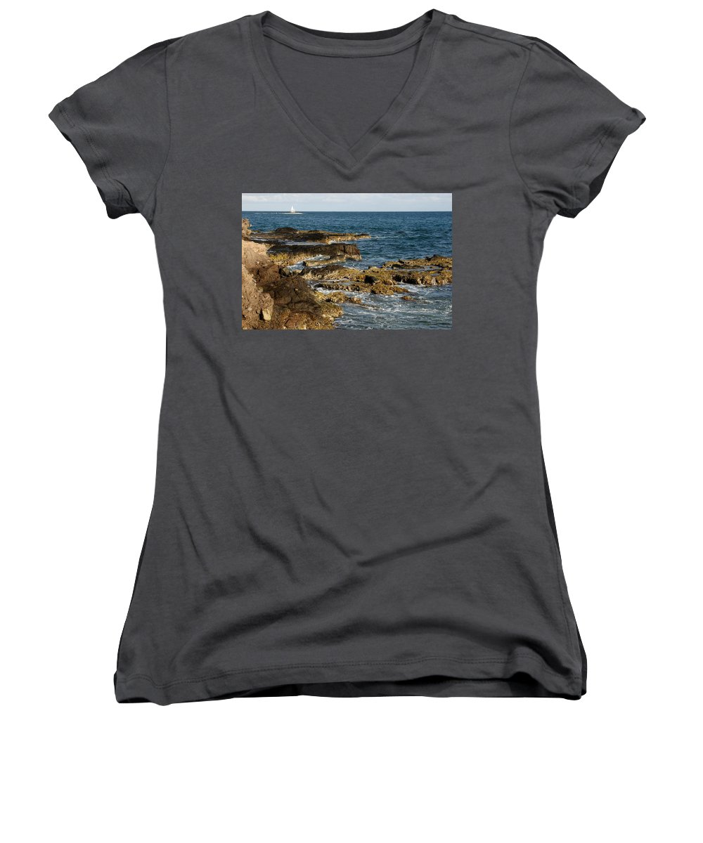 Sailboat Women's V-Neck T-Shirt featuring the photograph Black Rock Point And Sailboat by Jean Macaluso