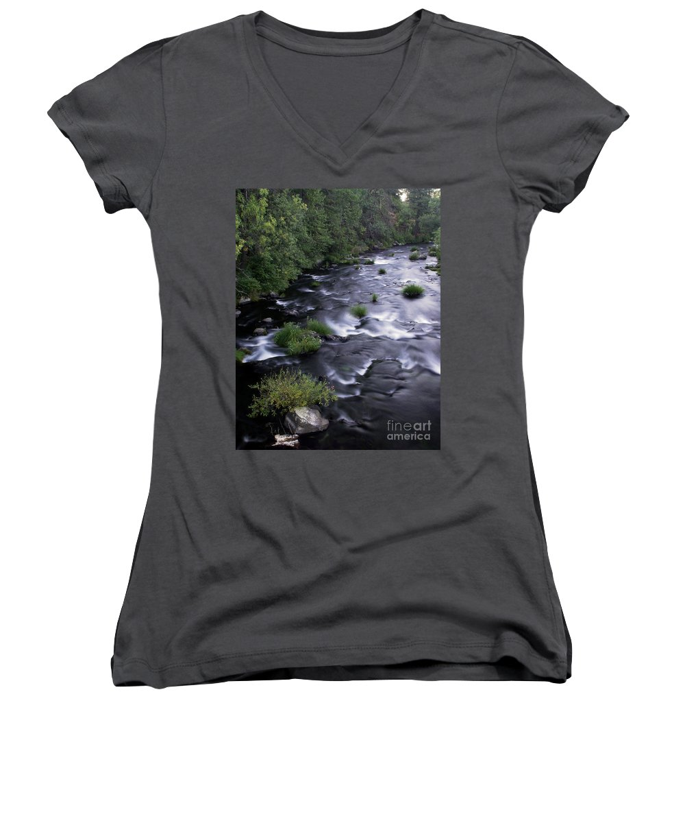 River Women's V-Neck T-Shirt featuring the photograph Black Waters by Peter Piatt