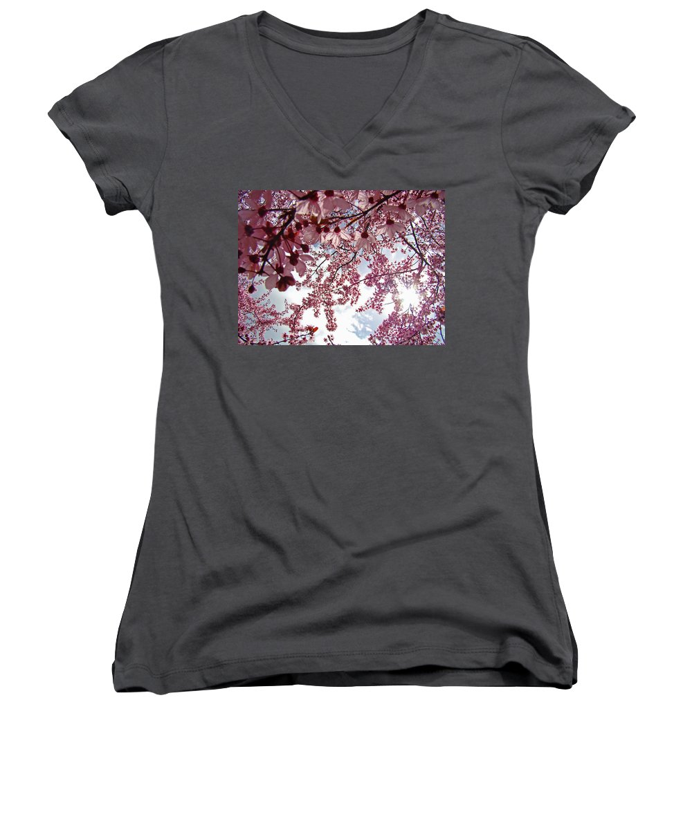 Tree Women's V-Neck T-Shirt featuring the photograph Blossom Artwork Spring Flowers Art Prints Giclee by Baslee Troutman