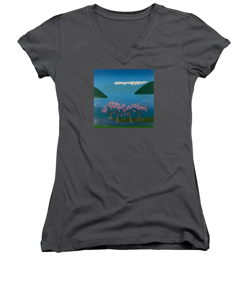 Landscape Women's V-Neck (Athletic Fit) featuring the mixed media Blossom In The Hardanger Fjord by Jarle Rosseland