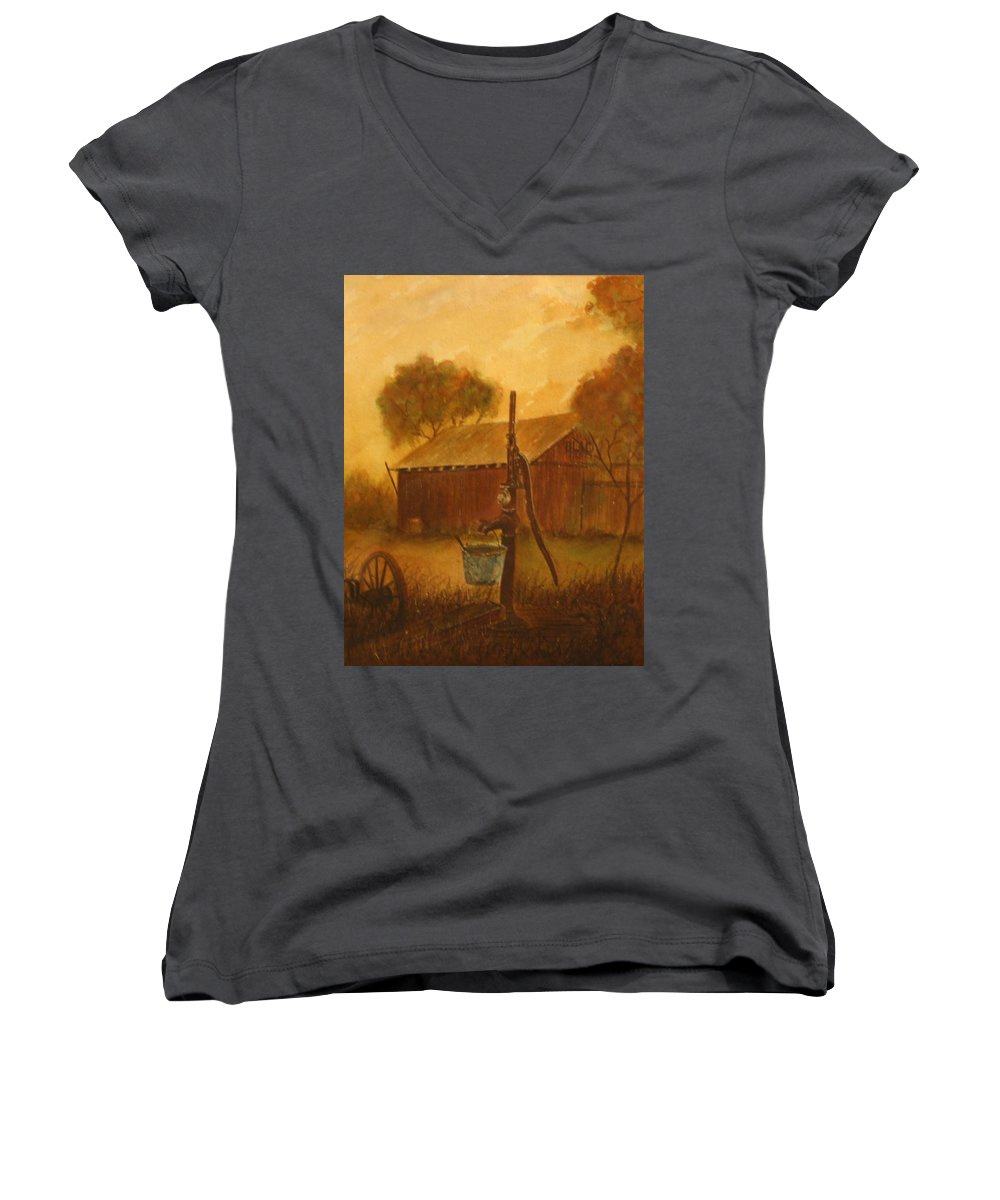 Barn; Bucket; Country Women's V-Neck (Athletic Fit) featuring the painting Blue Bucket by Ben Kiger