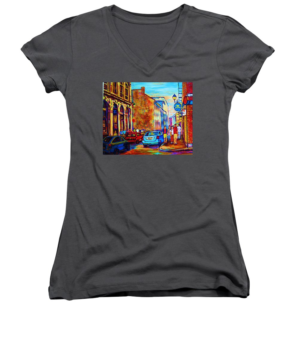 Montreal Women's V-Neck T-Shirt featuring the painting Blue Cars At The Resto Bar by Carole Spandau