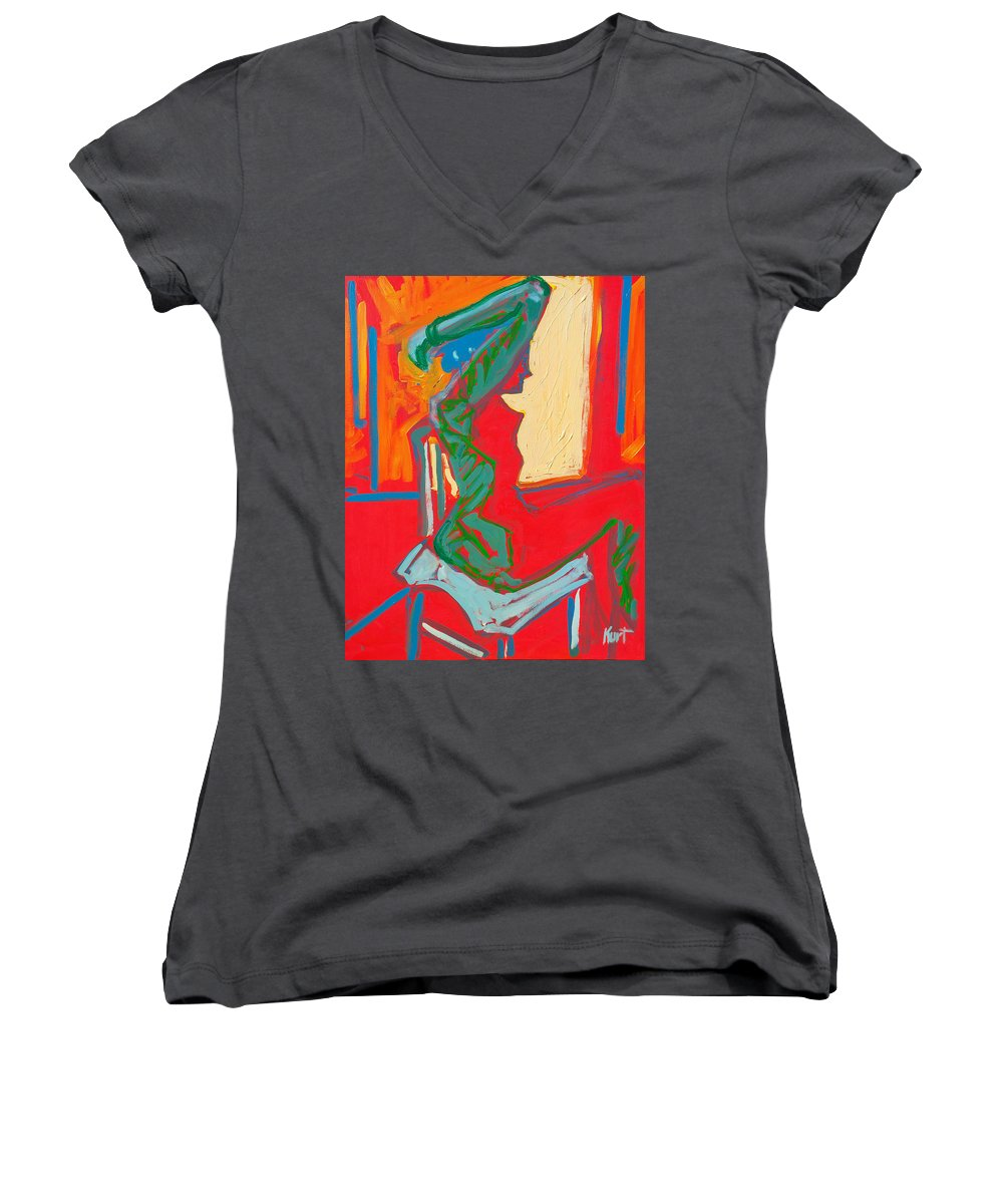Woman Women's V-Neck T-Shirt featuring the painting Blue Chair Study by Kurt Hausmann