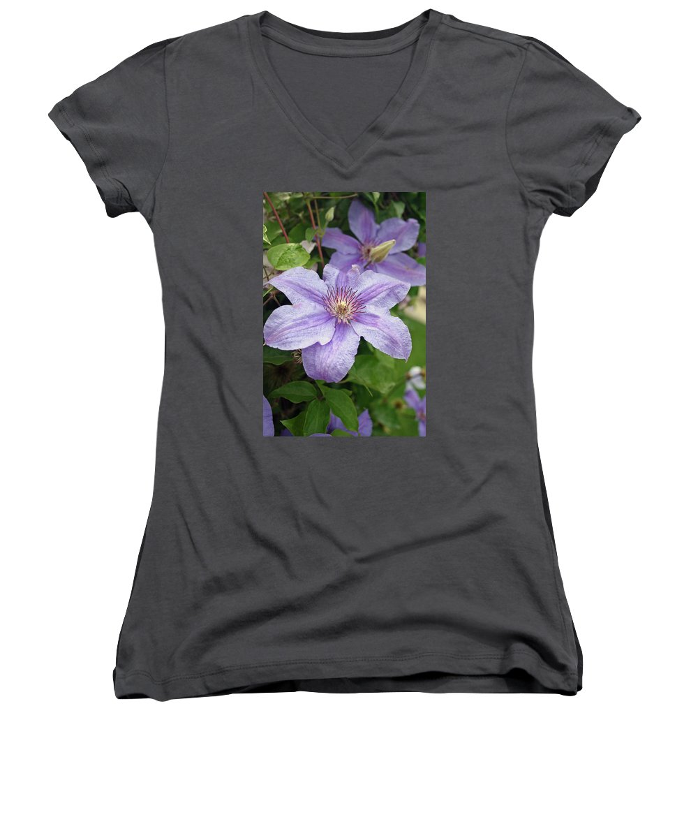 Clematis Women's V-Neck (Athletic Fit) featuring the photograph Blue Clematis by Margie Wildblood