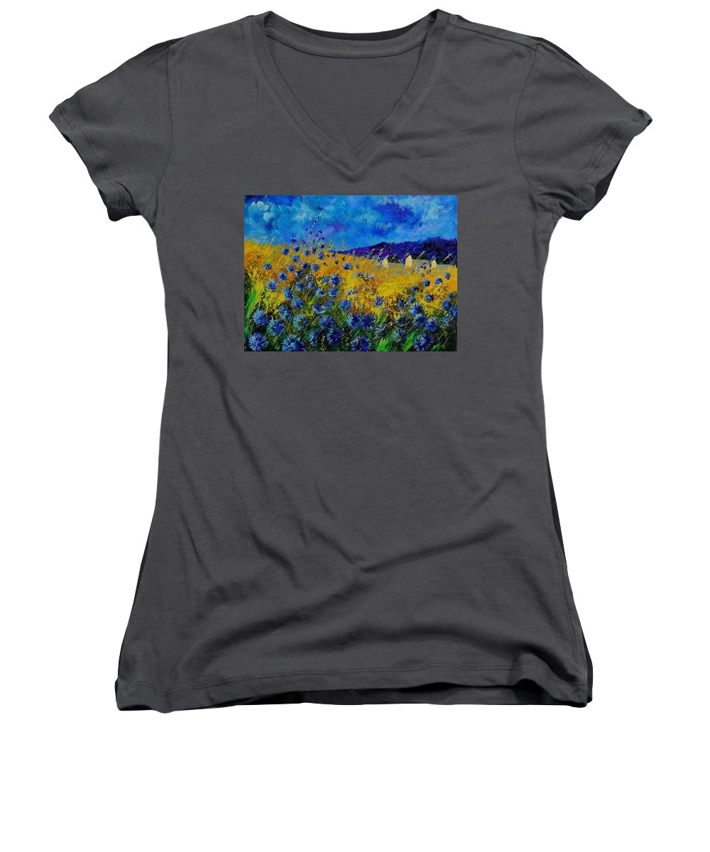 Poppies Women's V-Neck T-Shirt featuring the painting Blue Cornflowers by Pol Ledent