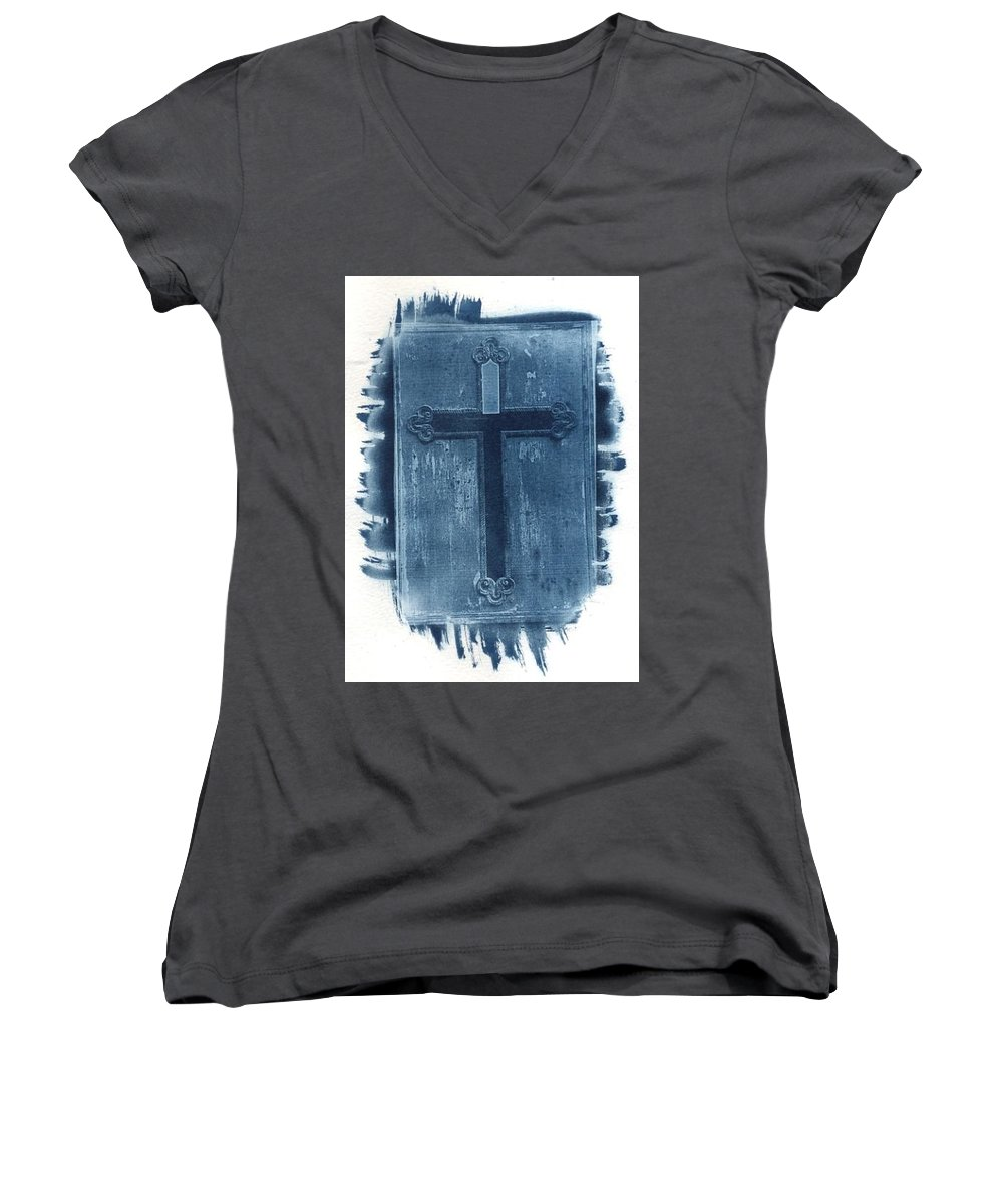 Cyanotype Women's V-Neck (Athletic Fit) featuring the photograph Blue Cross by Jane Linders