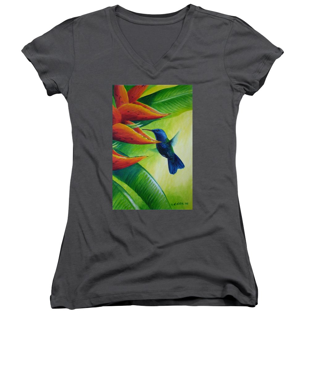 Blue-headed Hummingbird Women's V-Neck T-Shirt featuring the painting Blue-headed Hummingbird by Christopher Cox