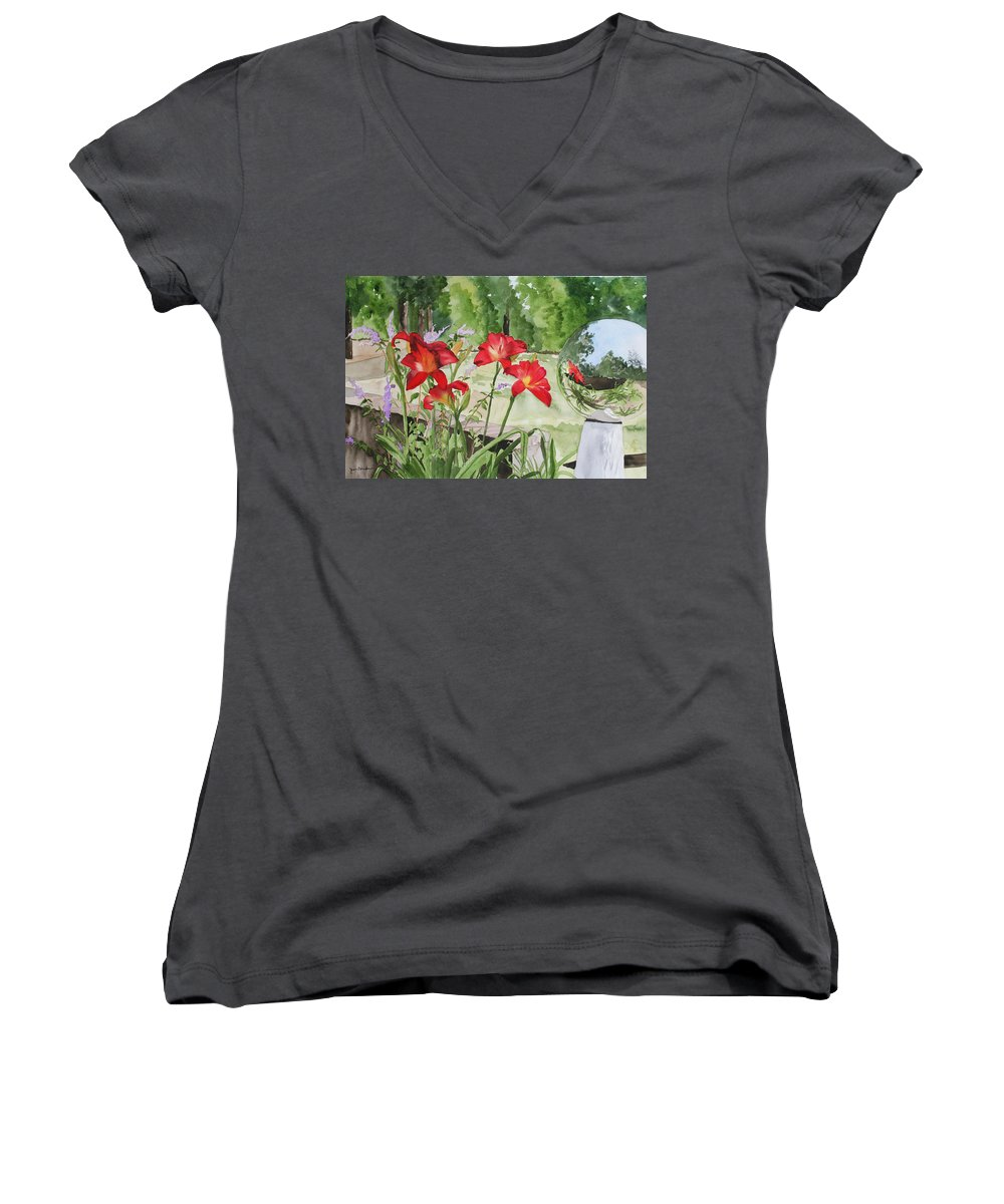 Flowers Women's V-Neck T-Shirt featuring the painting Blue Sky Reflections by Jean Blackmer
