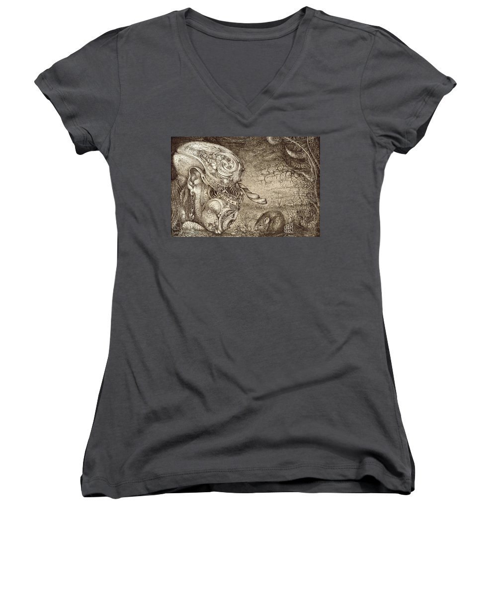 Surreal Women's V-Neck T-Shirt featuring the drawing Bogomils Mousetrap by Otto Rapp