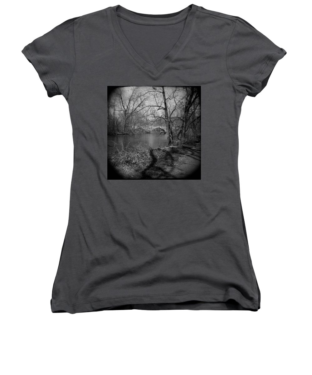 Photograph Women's V-Neck (Athletic Fit) featuring the photograph Boiling Springs Stone Bridge by Jean Macaluso