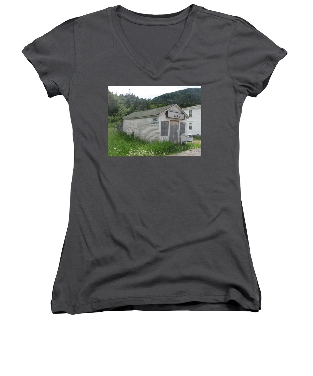 Photograph Bonne Bay Newfoundland Army Navy Store Women's V-Neck T-Shirt featuring the photograph Bonne Bay2 by Seon-Jeong Kim