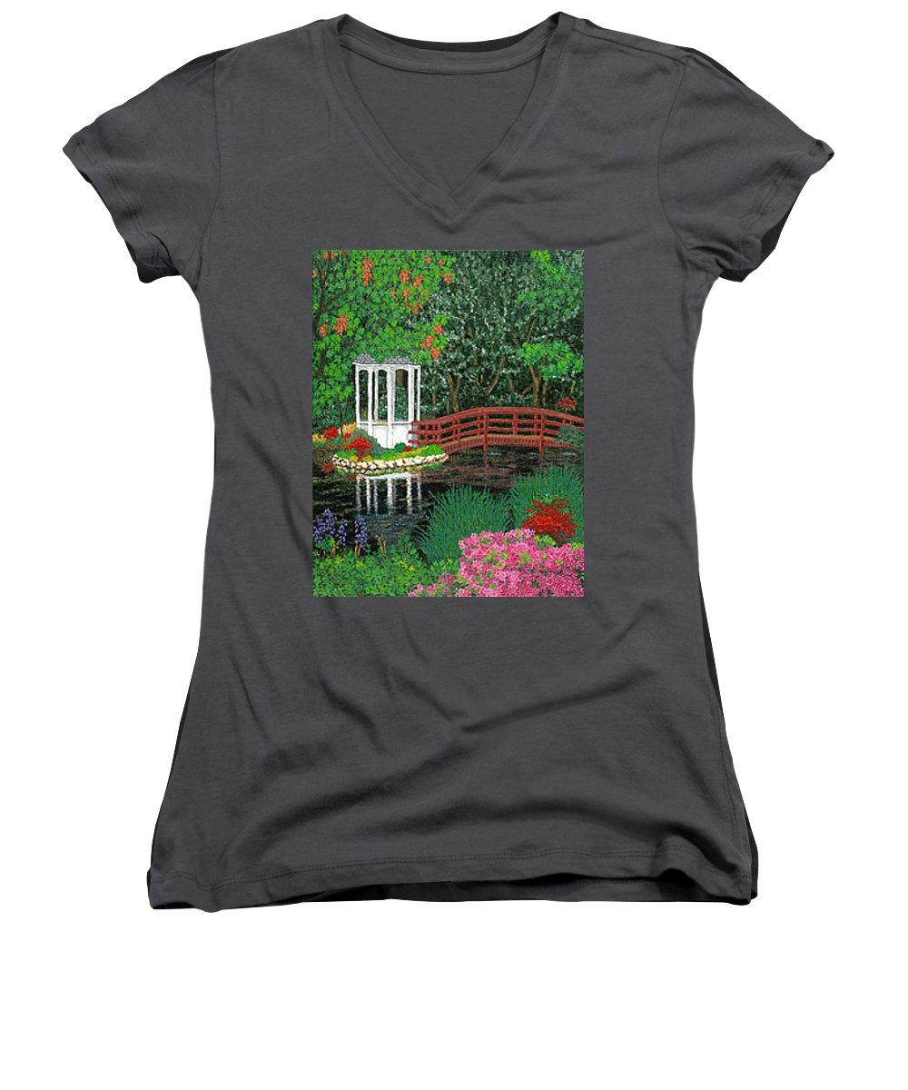 Art Women's V-Neck (Athletic Fit) featuring the painting Botanical Garden Park Walk Pink Azaleas Bridge Gazebo Flowering Trees Pond by Baslee Troutman